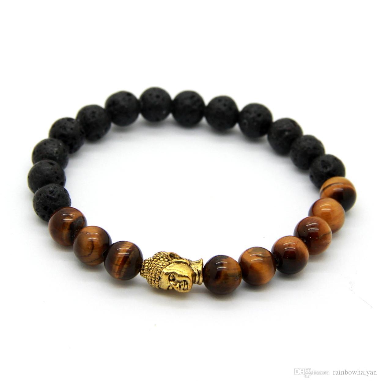 Hot Sale Mäns Beaded Buddha Armband, 8mm Lava Stone med Tiger Eye Yoga Meditation Smycken för Party Gift