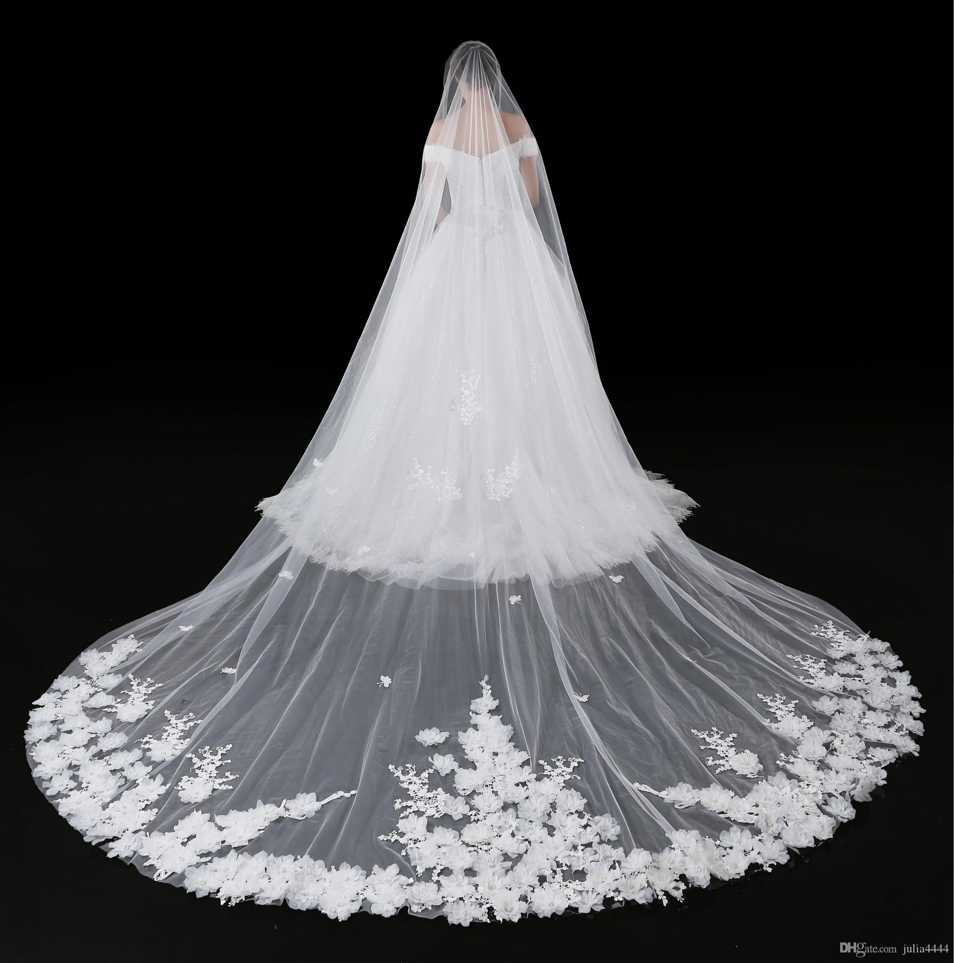 Großhandel 15 Kathedrale Schleier Für Hochzeitskleid Brautkleid 15D Blumen  Weichen Tüll Schnittkante Weiß Elfenbein Tüll Eine Schicht Mit Kamm 15