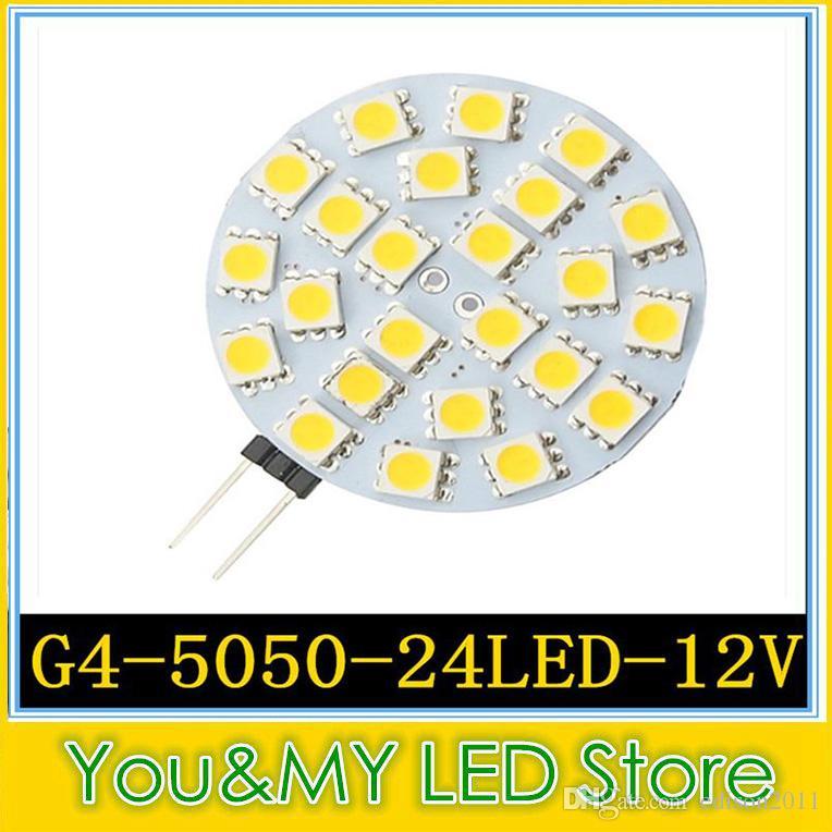 12 V DC G4 Preço de Fábrica 24 PCS 5050 SMD CONDUZIU a lâmpada LED Rodada Chip Quente branco Fresco LEVOU Lâmpadas Frete Grátis