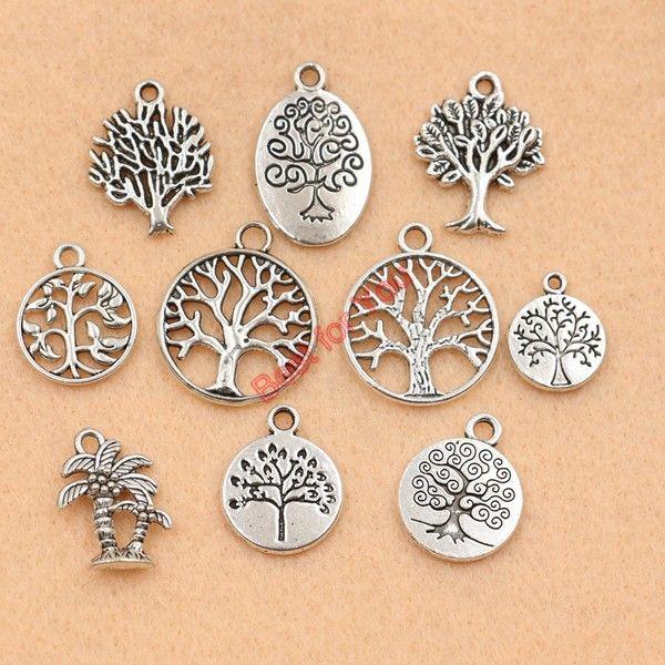 6 Colgantes de árbol de Navidad Tono Plata Antigua CT4