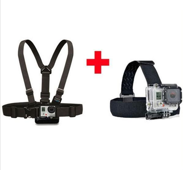 Free Shipping GoPro Chest Mount Harness and Head Strap Mount For GoPro Hero2, Hero3, Hero 3+,Outdoor Action Camera Accessories