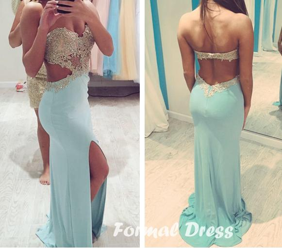 Sexy Open Back India Light Blue Prom Dresses Strapless Gold Applique Lace Evening Party Dress Beaded Chiffon Side Slit Graduation Gowns