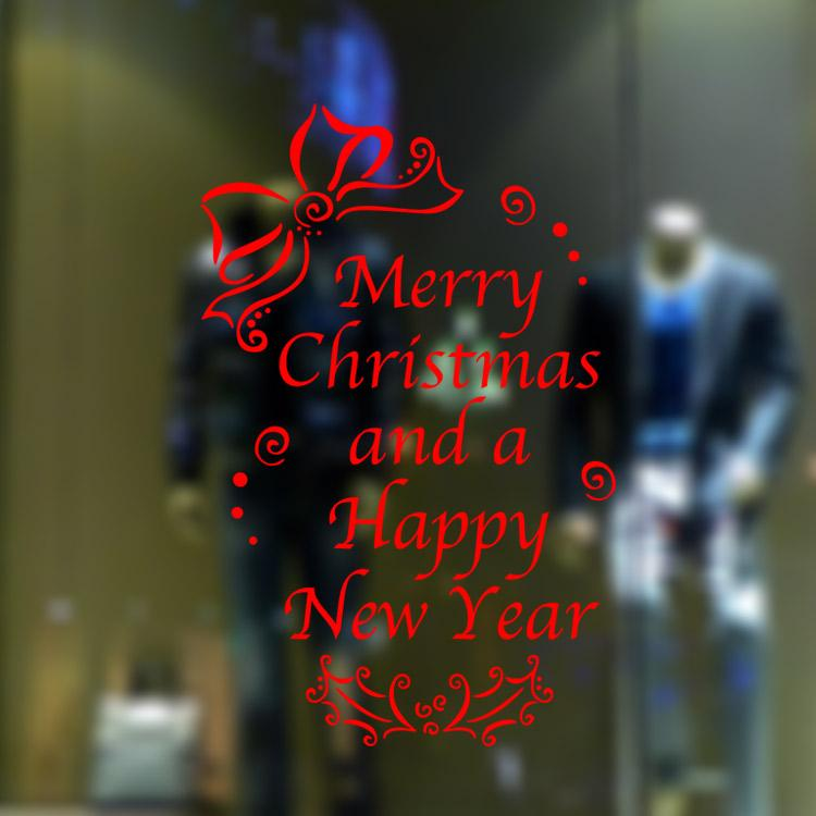 Vinyl Wall Decal - Merry Christmas and Happy New Year Wall Stickers Decal Decor Window shop Home murals
