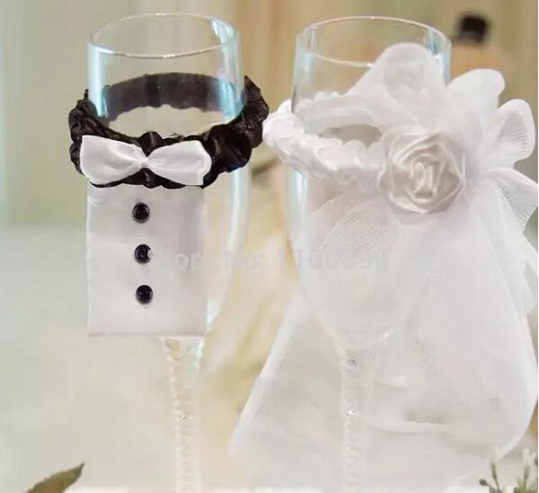 Свадебные украшения Новый год Рождество Свадьба Украшение Пара из BridegroomBride Тип Wineglass крышки Бесплатная доставка TY865
