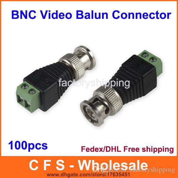 100 قطع اقناع cat5 إلى الكاميرا cctv bnc utp فيديو balun موصل محول bnc التوصيل ل نظام cctv مجانية