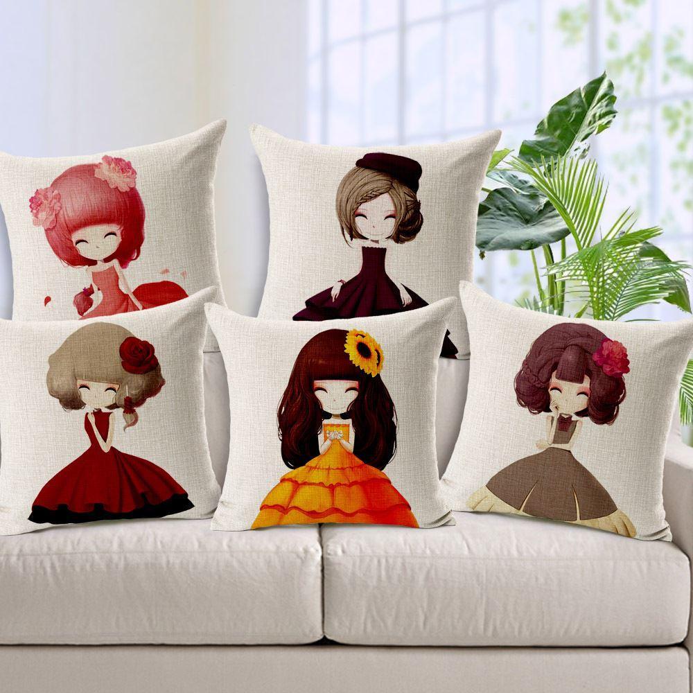 높은 품질 코 튼 린 넨 베개 케이스 귀여운 소녀 꽃 인쇄 장식 베개 케이스 빈티지 베개 커버 45x45cm