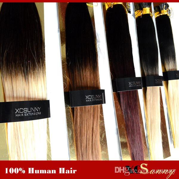 """XCSUNNY 100% Remy Indisches Haar Ombre I Tip Haarverlängerungen 18 """"20"""" 1 g / s Verlängerung Keratine Blonde Echthaarverlängerung"""