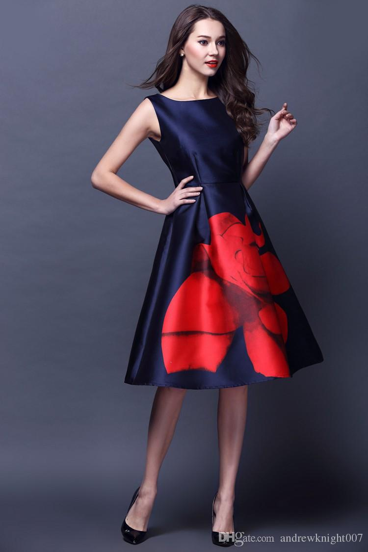 2019 New Designer Womens Dresses Dark Blue Mid Calf Gown Big Red Flower Print Fashion Vintage Casual Brand Dress Dk680fyd From Andrewknight007 26 12