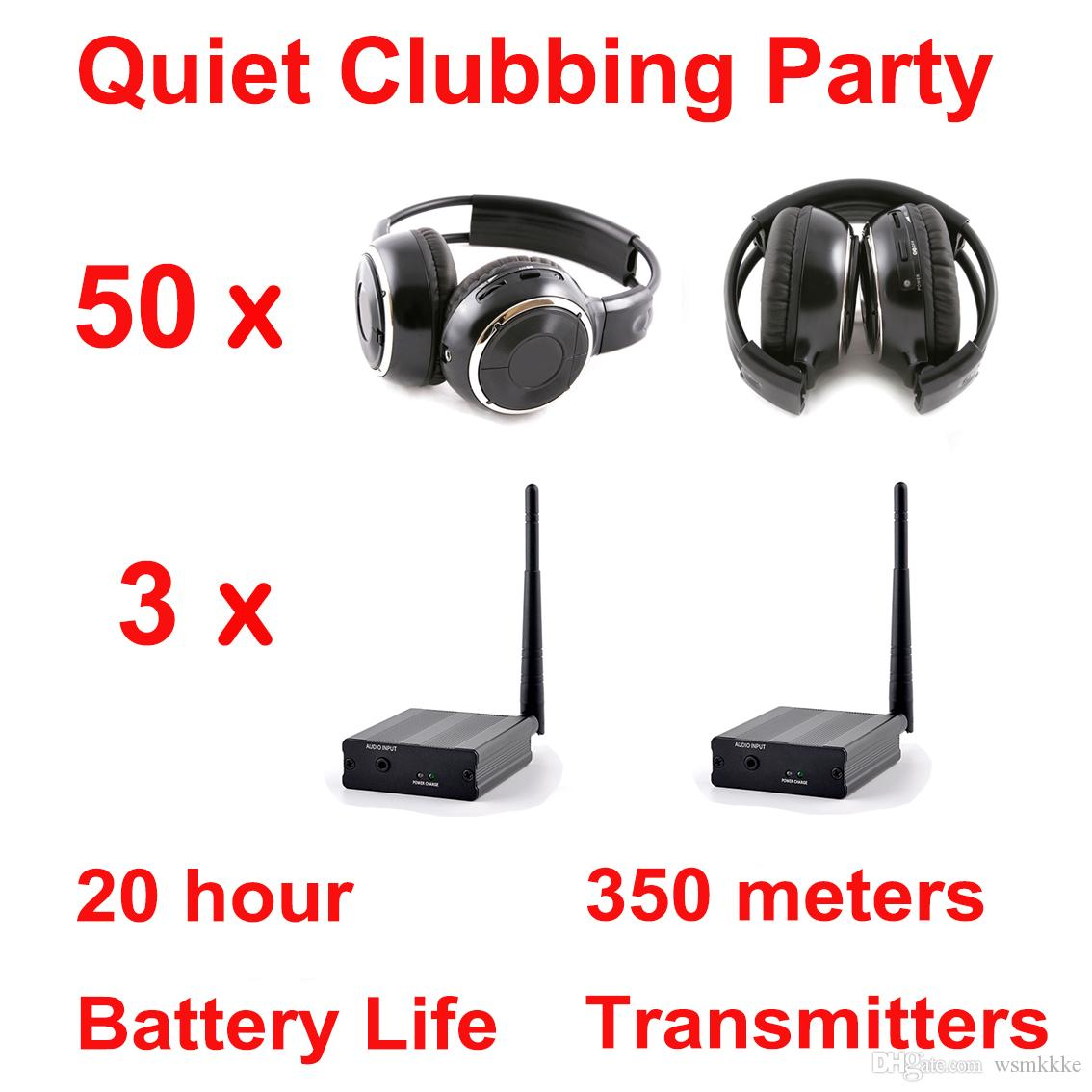 Universal 500m Silent Disco complete system black folding wireless headphones - Quiet Clubbing Party Bundle (50 Headphones + 3 Transmitters)