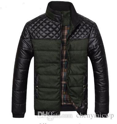 Mens Herbst Jacken und Mäntel Business Freizeit Slim Fit Stehkragen Baumwolle Kleidung Plus Größe gesteppt L-4xL