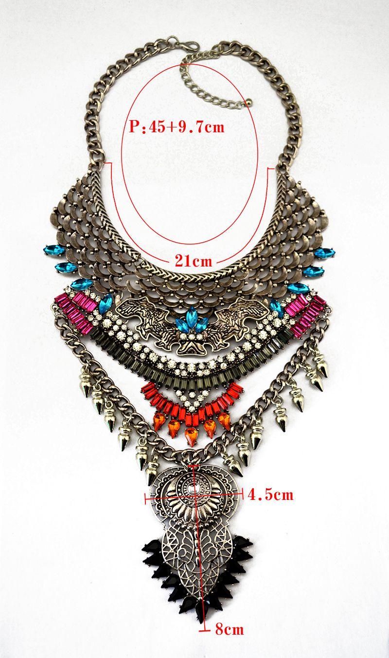 Wholesale-Vintage Neck Bib Collar Chokers Statement Necklace  Design Rock Punk Multi-color  Maxi Costume Large Pendant Jewelry