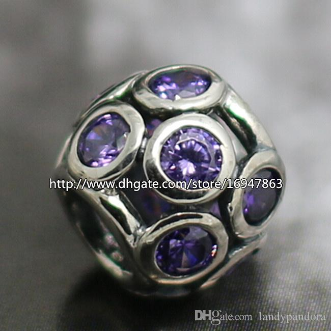 Ажурные сверкающие круги Шарм S925 стерлингового серебра шарик с фиолетовым Cz подходит Европейский Pandora ювелирные изделия браслеты ожерелья кулон