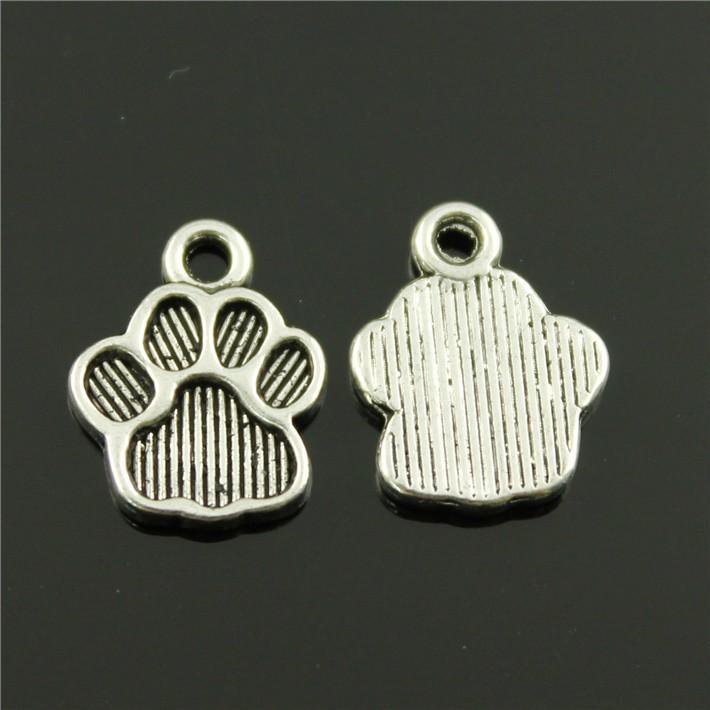400 unids / lote 15 * 12mm vintage antiguo plateado aleación de zinc perro pata encantos DIY para hecho a mano