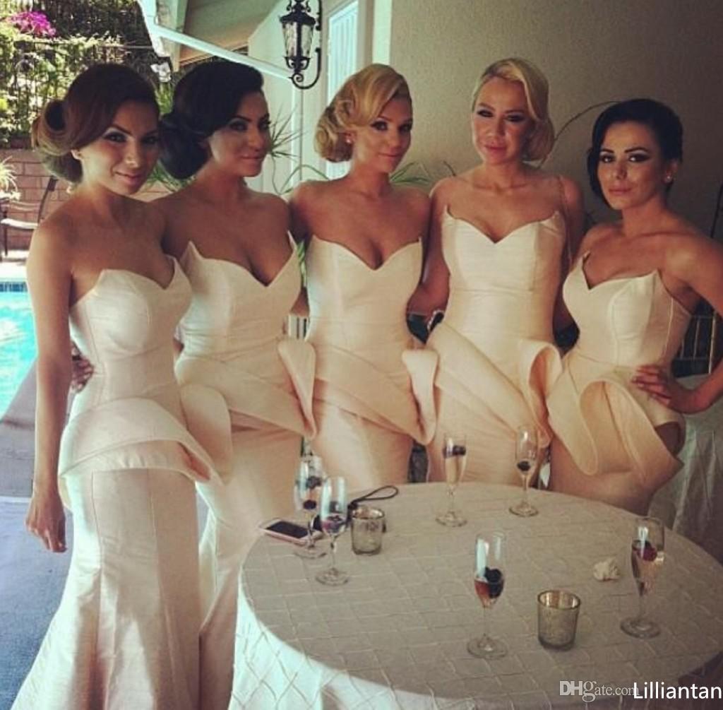 Champanhe Strapless sereia longo da dama de honra vestidos com decote querida e feitas à mão caixilhos Africano Aso Ebi vestidos de festa de casamento
