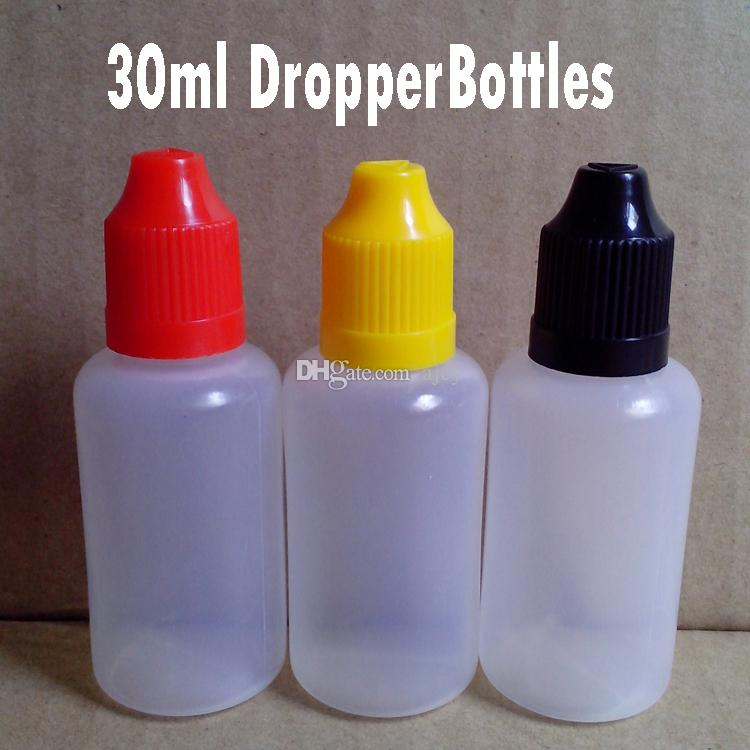 Top Quality 1 Oz 30ml Plastic Dropper Bottles with CHILD Proof Caps and Tips SOFT PE Dropper Bottle for Electronic Cigarette Liquid In Stock