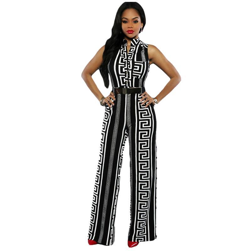 Großhandel-Echoine 2017 Frauen Weites Bein Overall Plus Size Overalls Lange Hosen Outfits Frauen Schwarz Print Gold Belted Ladies Playsuits