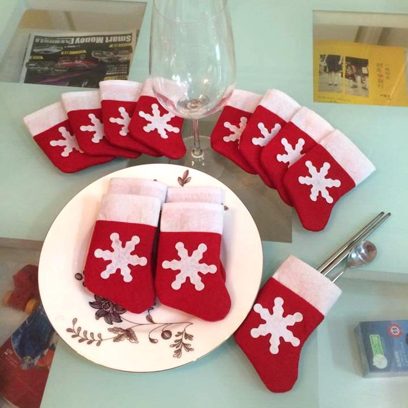 12pcs Mini Calze di Natale Cena Decorazioni di Natale Navidad Decorazioni di Natale Per la casa Capodanno decorazioni albero di Natale