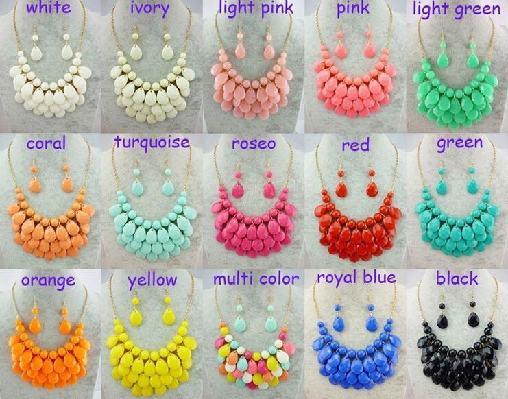 12 ensembles (colliers et boucles d'oreilles) Colliers à bulles Choker Colorfull Résine Perles Colliers Pour Dames Necllace 15 couleurs Livraison Gratuite
