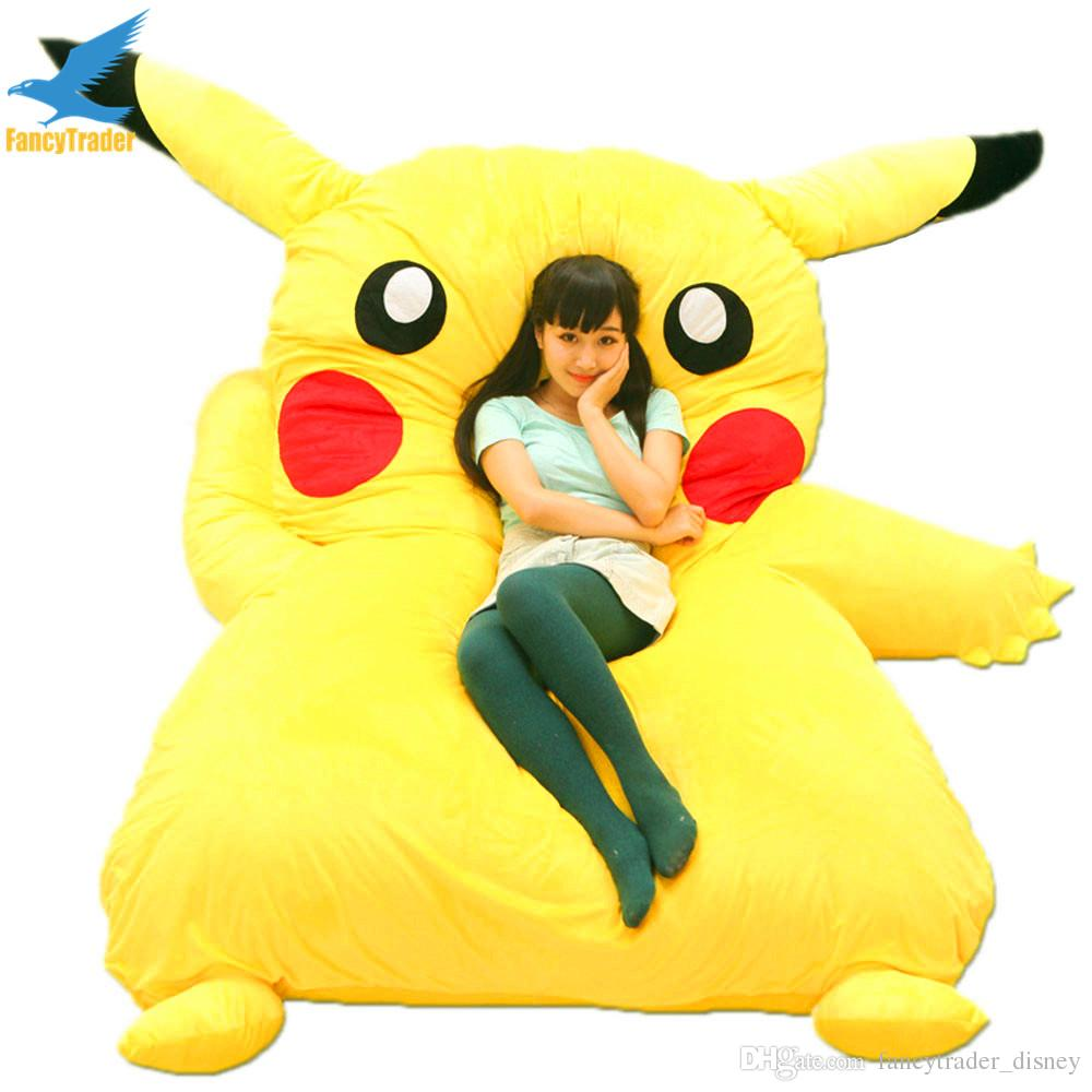 Fancytrader Japan Anime Giant Plush Stuffed Pikachu Sleeping Bag Beanbag Sofa Bed Tatami Carpet Mattress Great