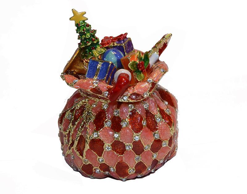 حقيبة هدية فابرجيه المجوهرات مربع حلية المشغولات المعدنية عيد ميلاد / كسعماس الهدايا والمجوهرات صاحب قضية عصابة عيد الميلاد زخرفة