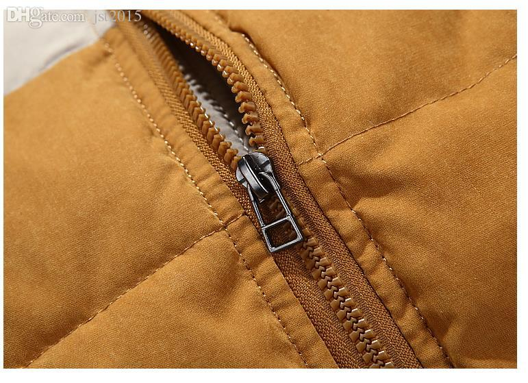 Fall-New Casual Duck Down Chaleco con capucha Para hombre Chaqueta sin mangas de invierno Talla grande Ejército Verde Empalmado Colores Grueso Cálido Chaleco naranja