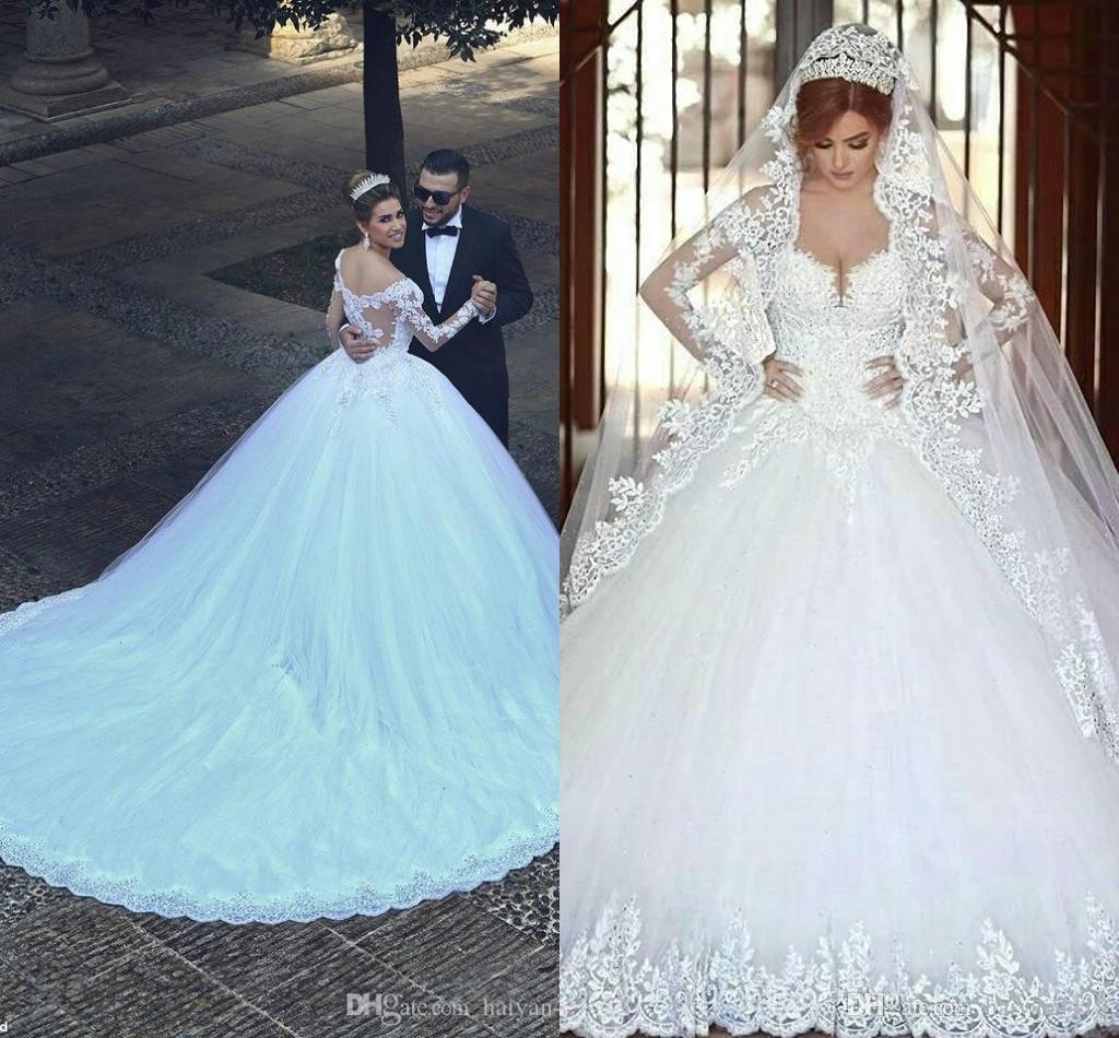 2018 Modern Arabic A Line Wedding Dresses Said Mhamad Sweetheart Long Sleeves Lace Appliques Beads Long Chapel Train Plus Size Bridal Gowns