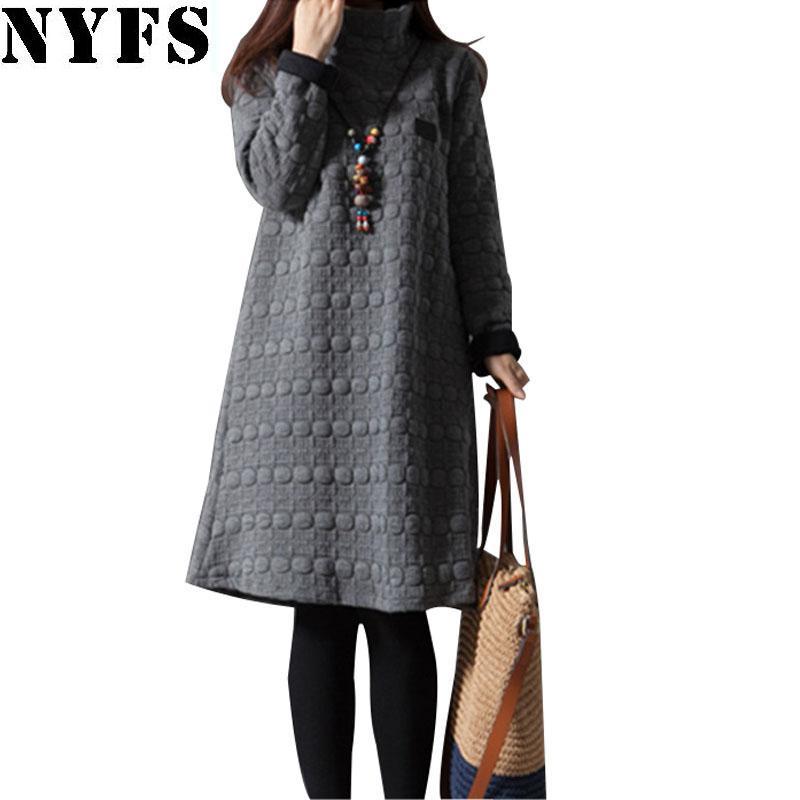 Wholesale- 2017 Top Quality Thick Autumn Winter Dress Women Long Sleeve Vintage large size Turtleneck Maternity Dress Vestidos Robe Elbise