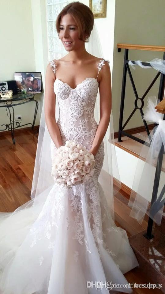 2016 Steven Khalil Stunning Spaghetti Straps Mermaid Wedding Dresses Spring Fall Sexy Long Appliqued Lace Fitted Backless Bridal Gowns Elegant Wedding