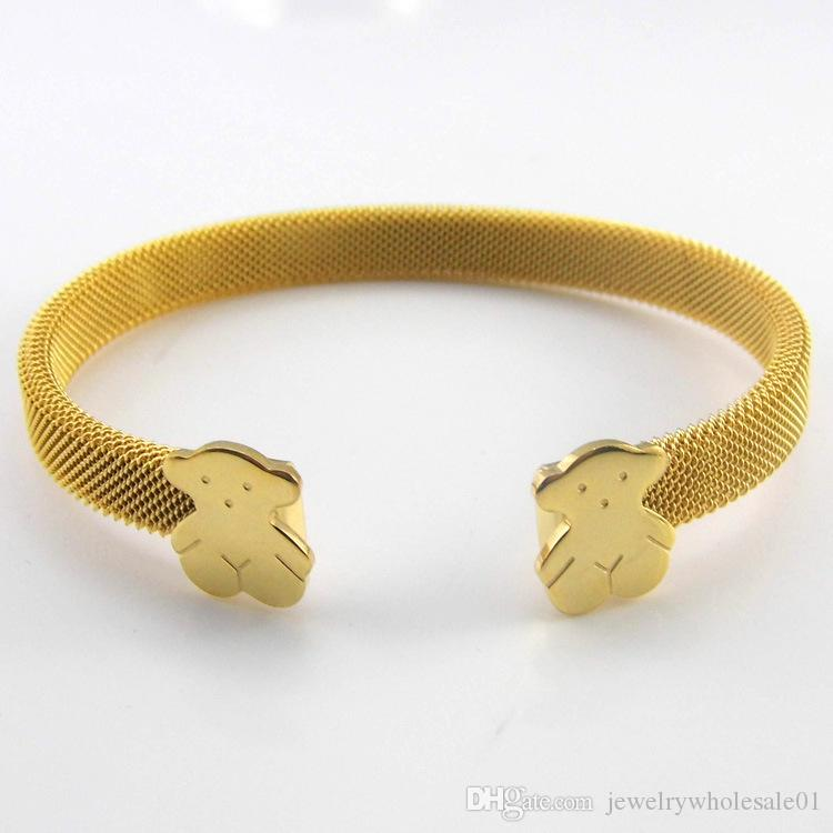 أساور الذهب للنساء 2020 ربيع جديد وصول أساور الإسورة المجوهرات واسعة مصمم الفاخرة الفولاذ المقاوم للصدأ النساء أساور خمر