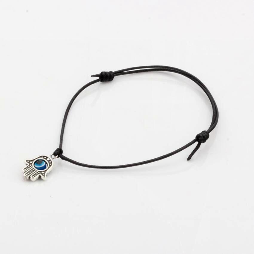 Caliente ! 50pcs Hamsa mano de perlas mal de ojo LUCKY Negro del color de la cera de la cuerda pulseras espirituales Protección éxito