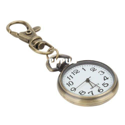 لطيفة سبيكة كبيرة مستديرة حلقة رجل ساعة الجيب كوارتز ساعة المفاتيح قلادة سلسلة الرياضة الدائري المرأة ووتش البسيطة