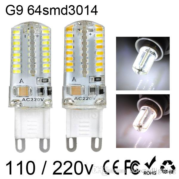 G9 G4 E14 3W 64 SMD는 전구 빛 3014 따뜻한 화이트 / 쿨 화이트 LED 옥수수 조명 AC 220V 110V 주도