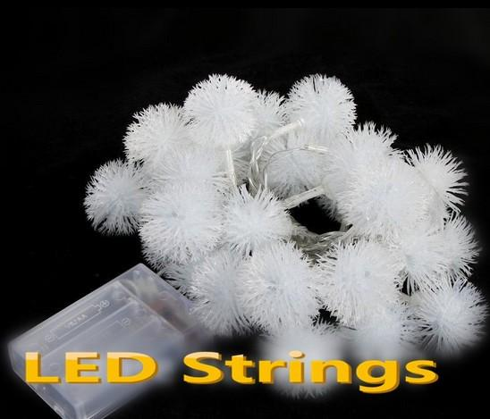 40 LED 4W LED blanco cuerdas Bola pompón nieve luz led Navidad / boda / fiesta decoración cadena luces las pilas de nieve