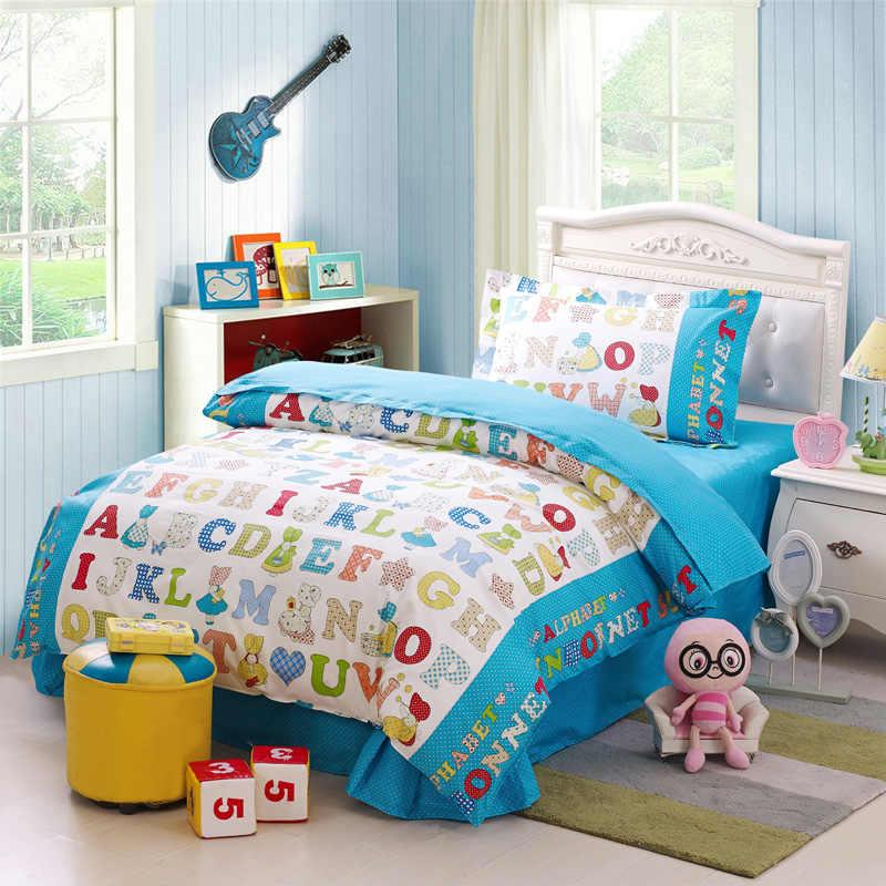 flat set cover reversible learning cotton twin product duvet alphabet bedding quilt with lace children sheet
