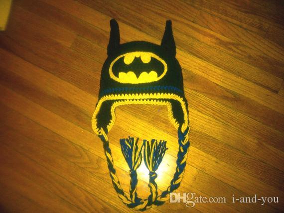 Free shippingcrochet pattern for childrens cartoon batman hat crochet pattern for childrens cartoon batman hatbaby photography prop 100 cotton black dt1010fo