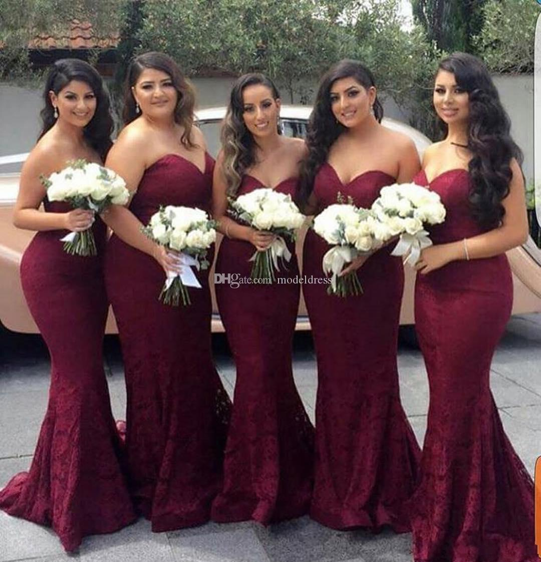 Charming Burgundy Lace Bridesmaids Dresses 2019 Sweetheart Mermaid Long Country Maid of Honor Dress Wedding Guest Prom Party Gowns Cheap