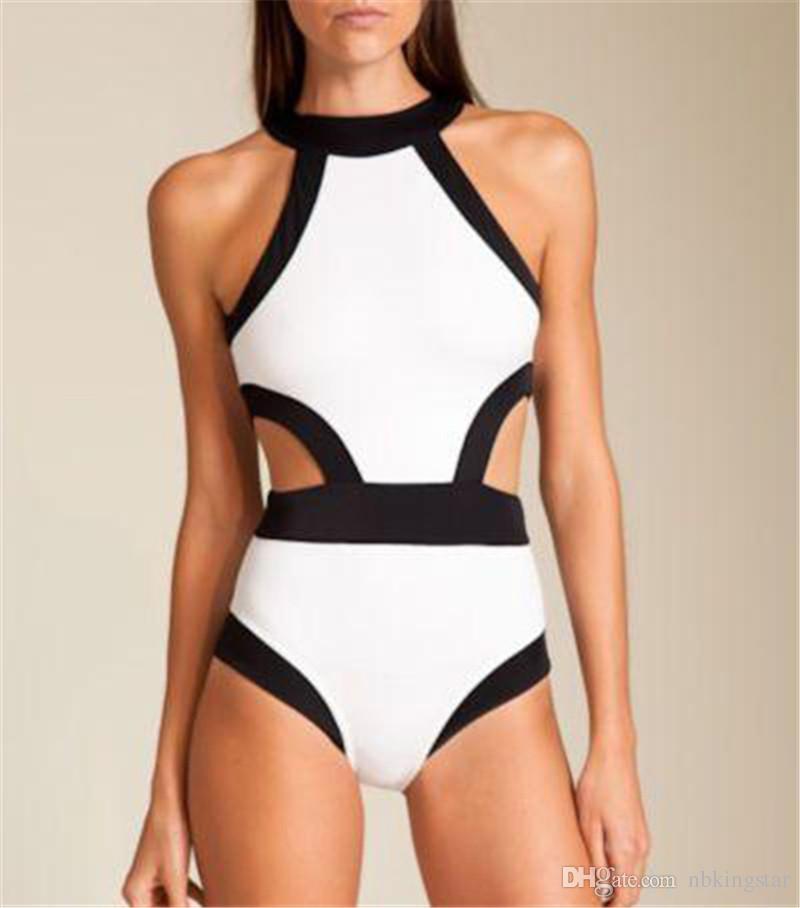 Yaz Yeni Seksi Bayanlar Bodysuit Plaj Bir Adet Bikini Yastıklı Monokini Mayo Mayo Beyaz / Yeşil / Siyah / Sıcak Pembe Ücretsiz Kargo