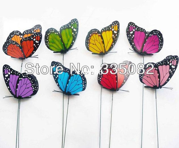 2013 neue Produkt Großhandel 50 stücke 3D Doppelflügel Künstliche Schmetterling Hochzeit Dekorationen Hochzeit Gunsten Dekoration