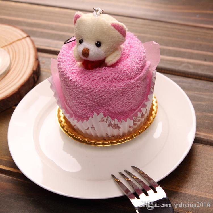 2016 새로운 사랑스러운 테디 베어 케이크 타올 30 * 30cm 미니 수건 웨딩 크리스마스 발렌타인 생일 선물 베이비 샤워 선물 기념품을 선호