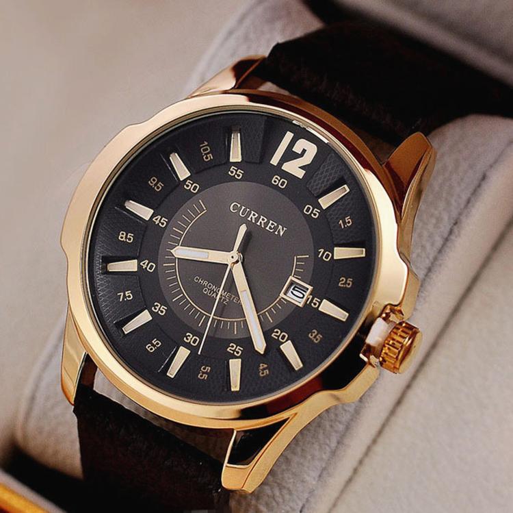 bens de alta qualidade! High-end homens honrados relógios, homens / meninos presente dourado Negócios mostrador circular fora do relógio
