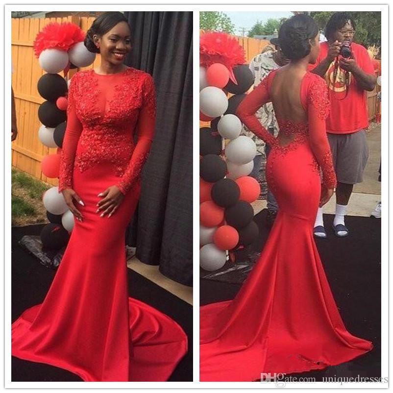 Red Mermaid Abendkleider 2019 Sexy Spitze Appliques Long Sleeves Formale Prom Party Kleider Schwarz Mädchen Vestidos De Festa
