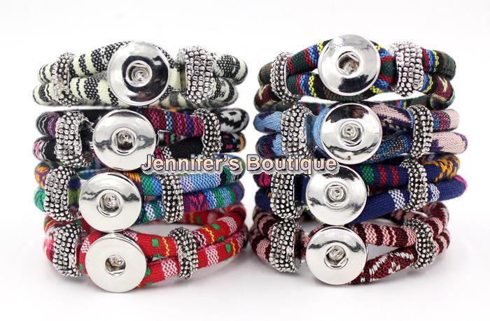 Wholesale Free Shipping New Arrival 9 Colors Classic Chunks Snaps Jewelry Bracelet,Ethnic Style Cotton Rope DIY Snaps Jewelry