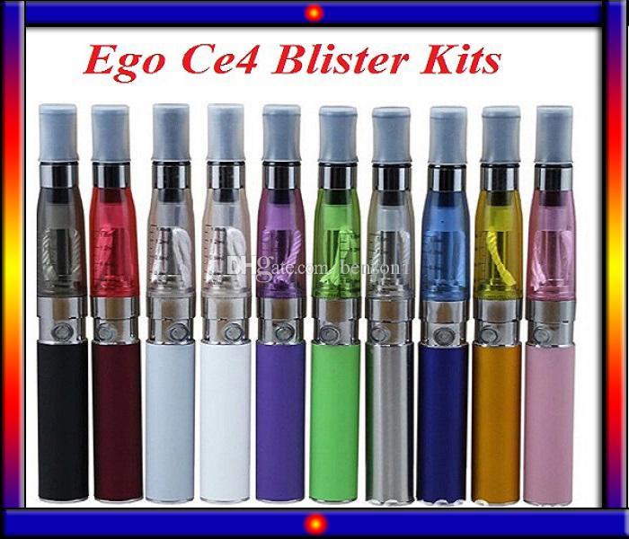 Colorfull Ego CE4-Blister-Kit Elektronische Zigarettenstarter-Kits mit CE4 Zerstäuber 650 900 1100 MAH EGO T-Batterie gegen Evod Mini Protank 2 Kit