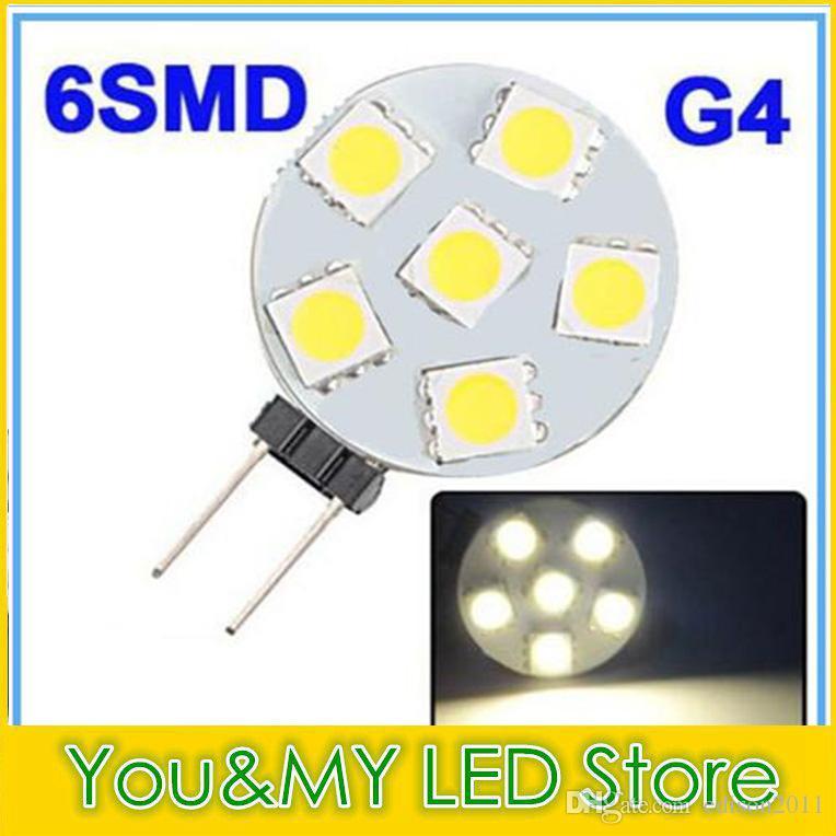 G4 6 SMD LED Marine Glühlampe Lampe warmes Weiß 12 Volt 1W 5050 CHIP Energiesparendes reines / warmes Weiß Freier DHL