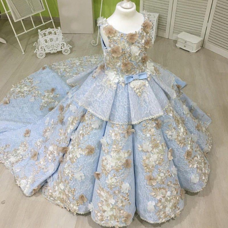 Lace Blue Flower Girl Dress Handmade Flowers Applique Birthday Dress Flower Girls Dresses Sweep Train Girls Pageant Dress Kids Formal Wear