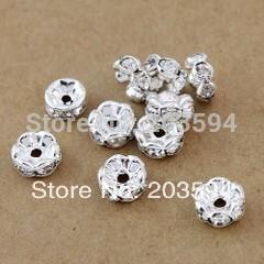 1000個の銀メッキの花の側面クリスタルロンデルスペーサービーズ8mm