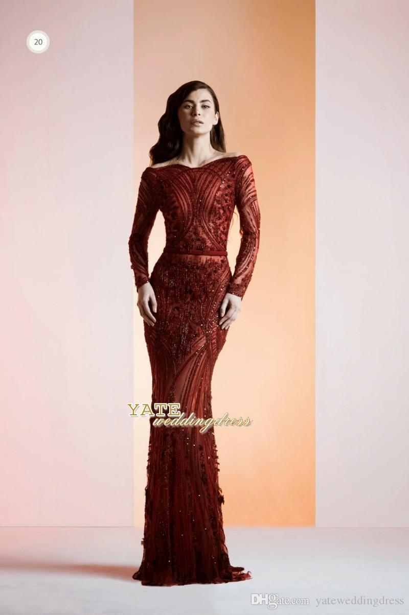 2017 Burgundia Retro Wiatr Portret Mermaid Organza Zroszony Z Długim Rękawem Suknie Wieczorowe Formalna Skromna Prom Dress Party Custom Made Made