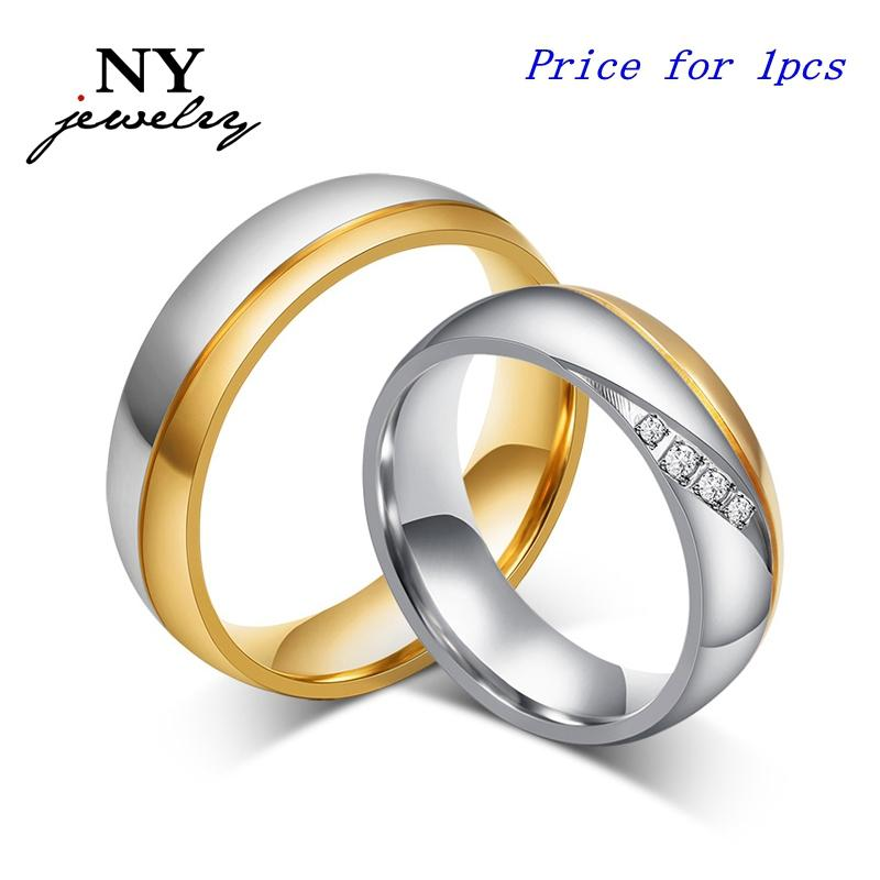 Высокое качество пара кольца для женщин мужчин цирконий обручальное кольцо 18K позолоченный нержавеющей стали ювелирные изделия