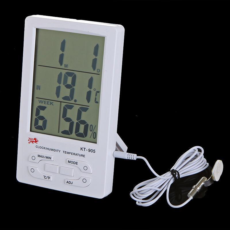 Цифровой крытый открытый ЖК-Часы термометр гигрометр измеритель влажности температуры C / F большой экран KT-905 KT905 Бесплатная доставка