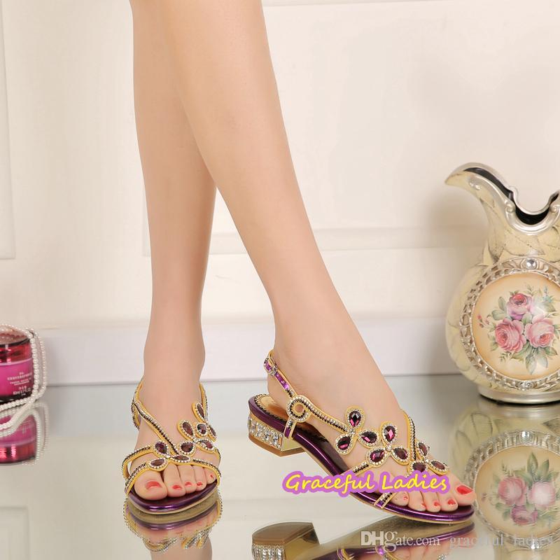 أحذية الراين الأرجواني أحذية الزفاف كعب منخفض 2.5 سنتيمتر slingbacks كعب مربع الصنادل الزفاف المرأة الولايات المتحدة الحجم 11 مساء حزب أحذية 2016 وصول جديد